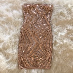 Rose Gold sequence mini dress